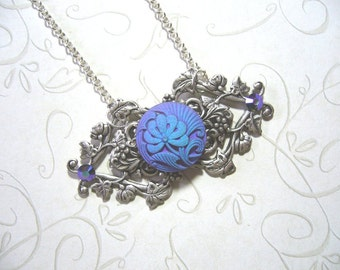Matte Flower Victorian Pendant And Necklace