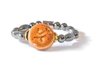 Magnetic Therapy Bracelet in Black Hematite & Burnt Orange Porcelain, Health Jewelry