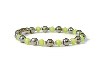 Peridot Magnetic Hematite Therapy Bracelet, Jewelry for Pain