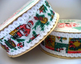 Vintage Christmas Ribbon Lace Trim Offray Supply Destash