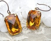 fancy rhinestone dangle earrings topaz glass jewel faceted simple