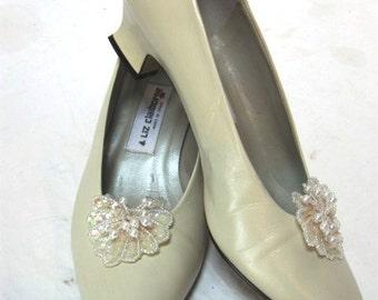 Vintage Bride Shoes, Liz Claiborne Pumps Size 7.5, Sparkly Clip Cinderella Slippers, Bridesmaid, Formal,  Wedding, Ecru, Embellished Shoes