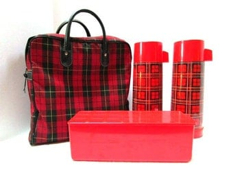 Vintage Red Plaid Picnic Set by Aladdin, 9 Pc Set 2 Insulated Drink Holders Food Box, Tartan Plaid Scottish Fest Glamping Football TailGate