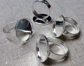 free shipping in UK - 5 pcs - Silver tone Ring Component Smooth Setting Base