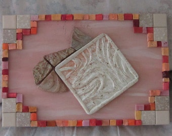 Fish and Wave tiles mixed media assemblage on wood