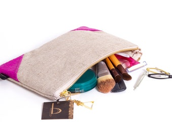 Leather and Linen Wristlet Medium Size Color Customizable Leather Applique Brass Zipper Closure Organic Linen Available in 40 Colors