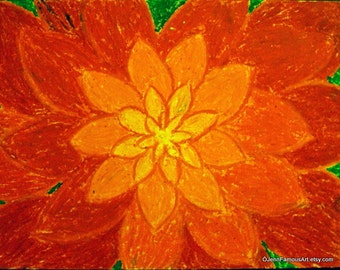 Crimson fire blossom Original Art 8x10 Print from oil pastel flower drawing