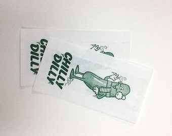 Vintage Style Chilly Dilly PIckle Bags - Green on White - Gusseted Bags 3 1/2 x 1 1/2 x 6 1/2 - set of 50