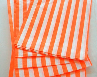 Set of 275 - Traditional Sweet Shop Orange Candy Stripe Paper Bags - 5 x 7 - New Style