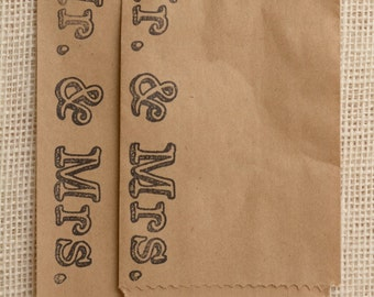 Set of 25 - Mr. and Mrs. Favor or Merchandise Bags - Recycled Brown Kraft or White Kraft - 5 x 7 or 4 x 6