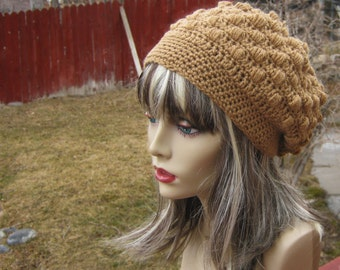 CROCHET PATTERN PDF, Cinnamon Bobbled Crochet Slouchy Hat, Instant download,  CaN sell finished pieces, women's slouchy hat, yarntwisted