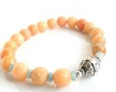 Pastel stone bracelet Peach calcite Amazonite Bali silver Bracelet  Stacks  /  Tribal chic Bracelet / Elastic beaded bracelet