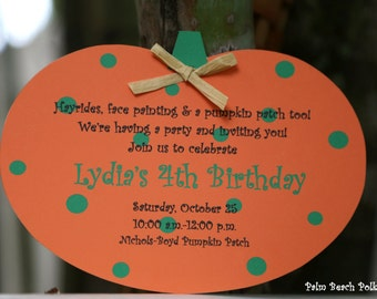 10 October Pumpkin Birthday or Hayride Invitations  by Palm Beach Polkadots
