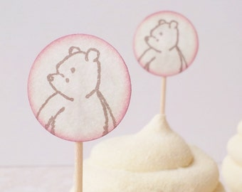 Winnie the Pooh Mini Toppers Food Picks Birthday Baby Shower Set of 25