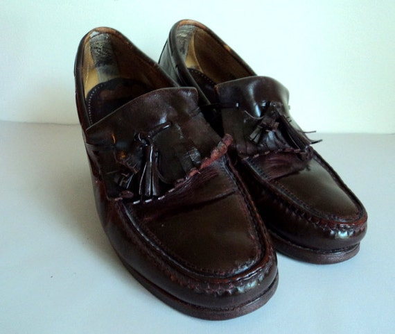vintage brown oxblood tassel loafers mens dress shoes