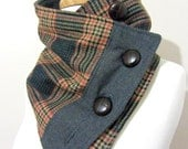 RESERVED - Teal and Gray Plaid Neck Warmer