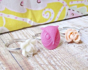 Girl's Ring Set Flower Trio Pink Cream Pastel Children Peach Apricot Girls. Party Favour Botanical Floral. Woodland Owl Jewellery Handmade