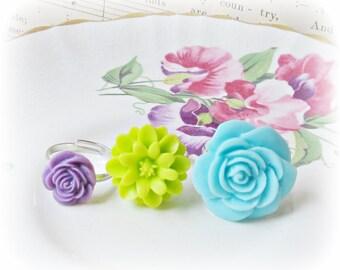 SALE Pastel Girl's Ring Set Flower Children Trio Pastel Blue Green Purple Sky Citrus Lime Party Favour Botanical Floral Bonbonniere Mauve