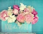 """Peony photograph """"Joie de Vivre"""" pink peonies, fine art print, floral photography, pink, aqua,cottage decor,shabby chic home decor"""