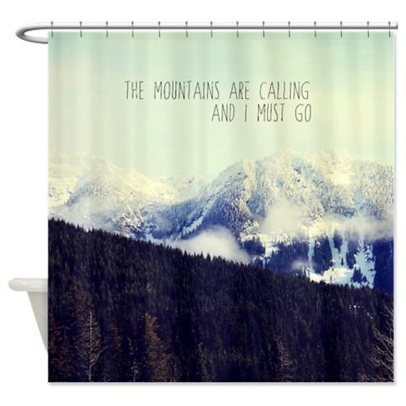 Mountain Shower Curtain,landscape, typography,mountains,aqua home decor,nature,scenic,bathtub,snow