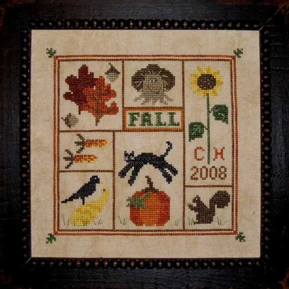 Finished and Framed Cross Stitch Autumn Fall Scarecrow Sampler
