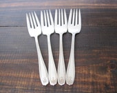 Antique Salad Forks, Chippendale Adair 1919 by 1881 Rogers, Silverplate Set of 4