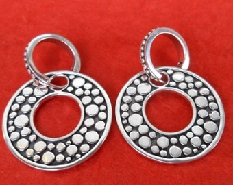 Bali Sterling silver round hoop earrings / 1.25 inch / silver Medium hoop earrings / handmade earrings (#110229)