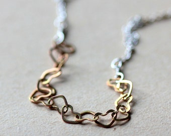 Heart Necklace - Gold Hearts on Sterling Silver Chain -  Cherish - Small Heart Jewelry Valentines Day