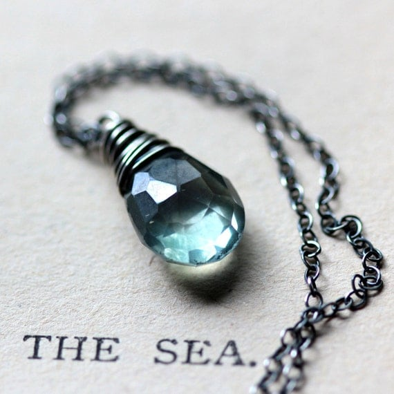Mystic Blue Green Quartz Necklace on Sterling Silver Chain, March Birthstone - La Mer - Aqua Blue Turquoise Wire Wrapped Gemstone