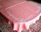 Embroidered Vintage TABLECLOTH W Rustic Stone Washed Pink Red Linen WHITE WORK