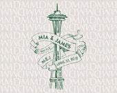 Space Needle Seattle Custom City Wedding Monogram - Wedding Logo - Wedding Crest