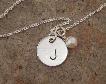 Initial necklace - Birthstone necklace - Personalized Initial jewelry - Custom birthstone crystal necklace