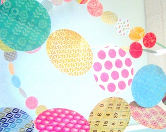 Colorful Paper Garland - Upcycled Circle Garland - Colourful Patchwork Recycled Paper Bunting - Circus Nursery Decor