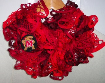 UNIVERSITY OF MARYLAND Hand knit Ruffled Fashion Team Scarf in  Maryland colors and Terps Logo