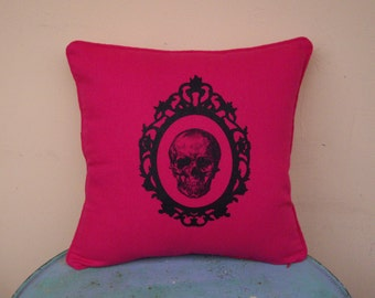 "Baroque Skull pink silk screen 16"" x 16"" throw pillow cover -pink skull pillow cover,pink cushion case, anatomy pillow, neon pink, punk,boho"