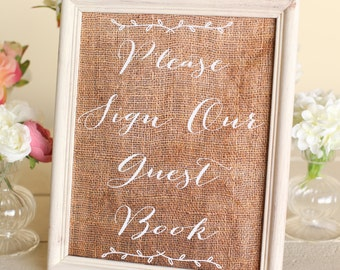 Rustic Wedding Guest Book Sign Burlap INSTANT Download  NEW 2014 Design by Morgann Hill Designs