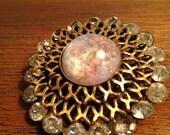 Vintage Large Moonstone Gold Fleck Silver Brooch