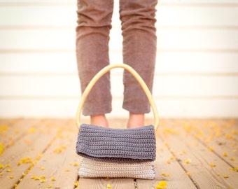 PuRse-Light Dark gray knitted purse- Cotton- vintage  wooden handles.Chrsitmas gift--Gift under 50 USD