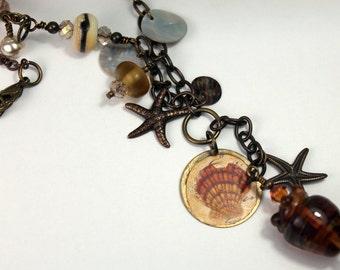 Lampwork Necklace and Earrings Antique Brass Chain Shells- Ocean Seashells Beaded Beach Jewelry   'Vintage Seashore'
