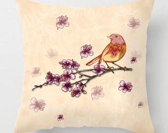 Bird on a branch illustration cushion / pillow