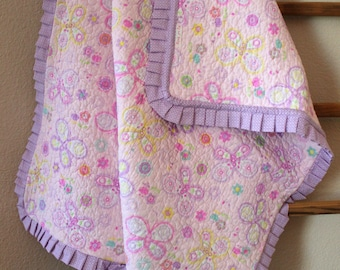 Pink and Purple Butterfly Baby Quilt with Matching Ruffle Baby Girl Quilt Baby Shower Gift
