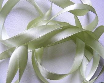 Vintage 1940's Doubleface French Satin Ribbon 1/2 inch -Milliners Stock- Gorgeous Nile Green