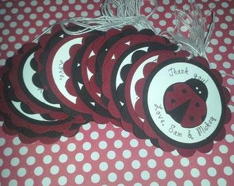 Ladybug favor tags, ladybug labels, ladybug gift tags, bug tags - Set of 10