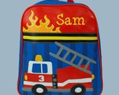 Personalized Stephen Joseph GoGo Backpack FIRETRUCK Themed Bag-Monogramming Included