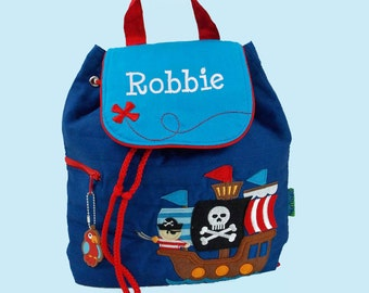 PIRATE Personalized Stephen Joseph Quilted Backpack PIRATE Themed In Blue
