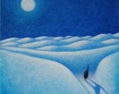 Black Cat under Full Moon oil painting.  Moonshadow II