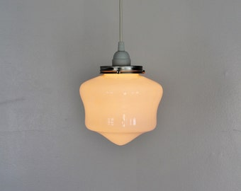 School House Pendant Lamp - Hanging Lighting Fixture - White Glass Shade - Modern Home Decor - Simple Minimalist Industrial BootsNGus Lamps