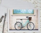Paris Photo Notecard - Blue Bicycle, Paris Bike, Fine Art Greeting Card, Stationery, Blank Notecard