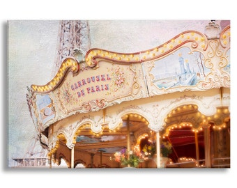 Paris Photo on Canvas, Carrousel de Paris, Nursery Decor, Photo on Canvas, Large Wall Art