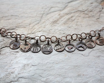 "Steel Town ""Open & Airy"" Charm Bracelet with minicharms"
